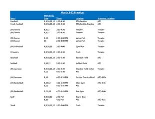 March 8-12 Practice & Game Schedule