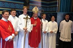 Mock Trial team members serve for Archbishop Schnurr
