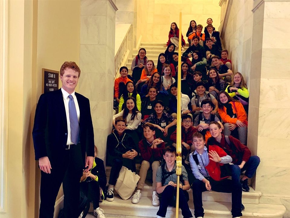 CS students meeting with Rep. Joe Kennedy