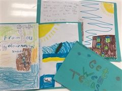 Dozens of handmade cards will be send to Montessori students in Texas