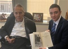 Matthew Pollack '20 with Senator Bob Dole, a World War II veteran, in 2019.