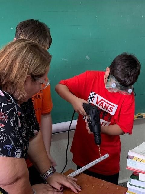ASD student demonstrates how to work with PVC.