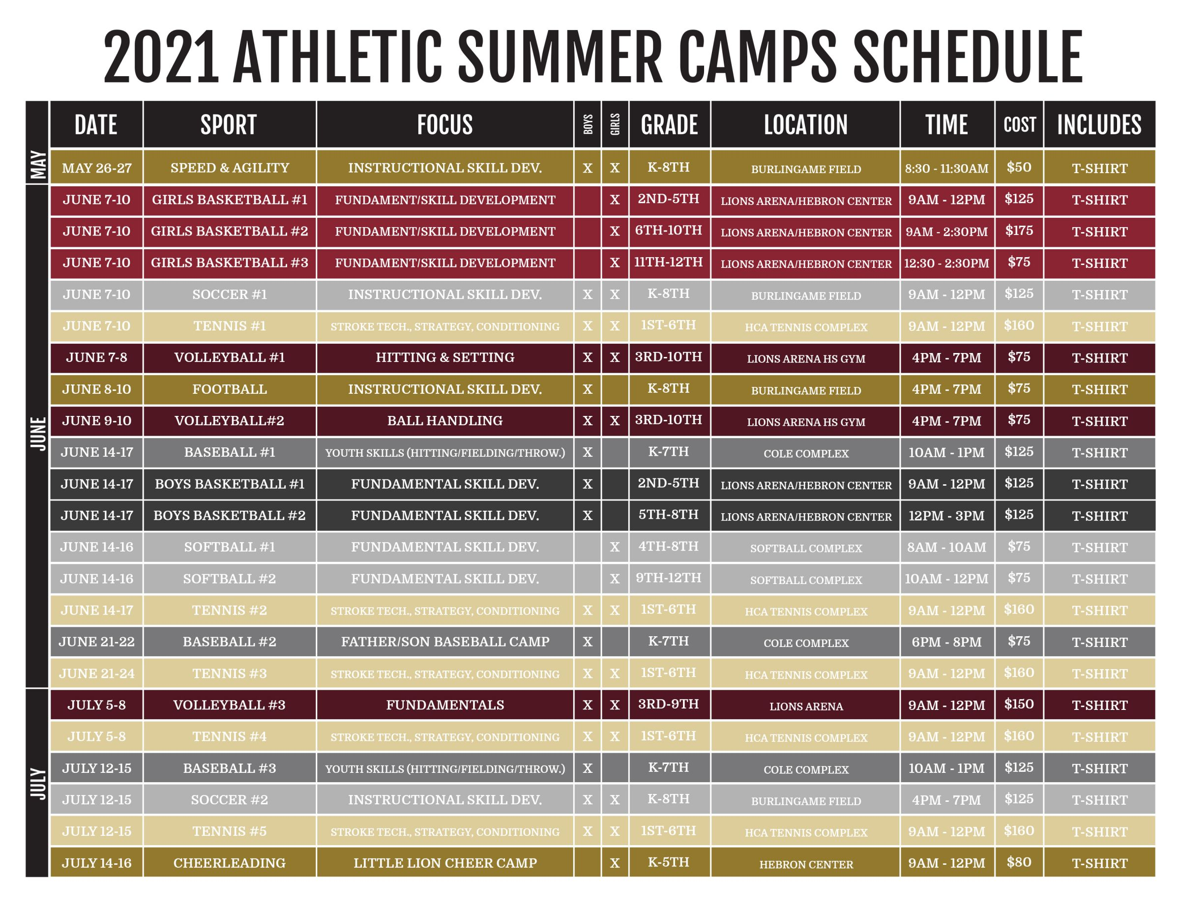 Athletic Camp Schedule