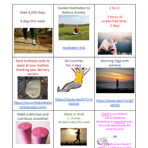 Wellness Choice Board Week of 4.27