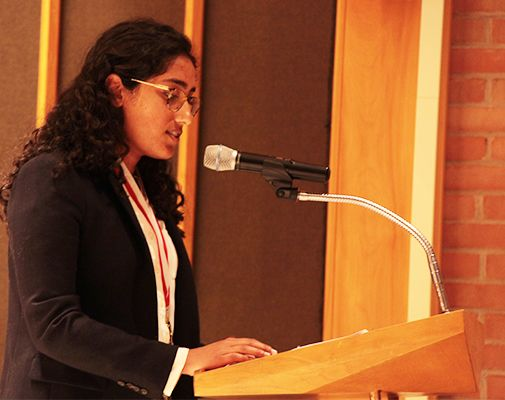 Simar Garcha `19 addressed the audience assembled for Honors Convocation on Sunday, May 5.