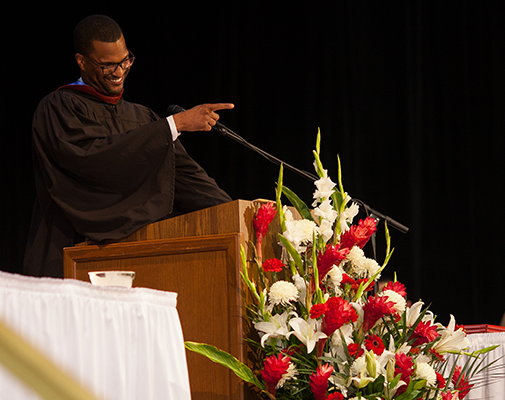 Wayland Trustee Terrence Wilson `02 emphasized a piece of advice during his commencement address.