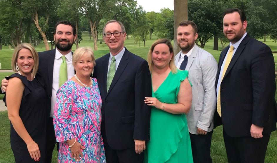 The Jim VanDyke '72 family includes (l-r) Kate and Joe VanDyke '99, Peggy and Jim VanDyke, Elizabeth and Mark Jerome and Jimmy VanDyke '05.