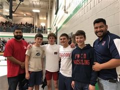 Coach Randy Gonzales, Jack Fishman '23, Rogan Crumley '22, Jackson Grace '23, Rylee Leo '22 and Head Coach Hugo Munoz