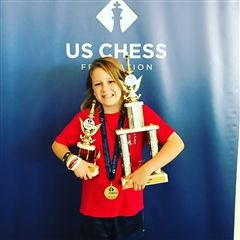 "Jake Hudman '26 competed K-5 U1200 division, finishing in a tie for fourth place. He also placed third in the ""blitz"" (fast) chess tournament."