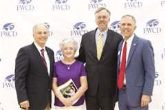 Athletic Director Frank Gendusa, Shirley Gendusa, Former Head of School Evan D. Peterson and Head of School Eric Lombardi