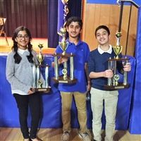 Zara Y., Zach Y. and Sid S. as the 1st place team at the MS Championship tournament on May 6 in Freehold NJ.