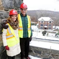 "The Greenbergs,  ready for their ""hard hat"" tour of the new construction."