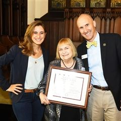 HAA Director Ali Kelman '01, Honorary Alumna Mary Anne McNaughton, and Head of School Michael  Wirtz