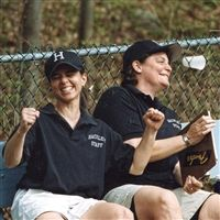 Margaret and Julianne coaching Varsity Softball. Photograph by Armando Passarelli