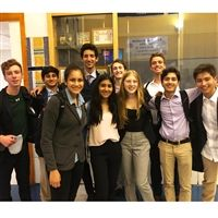 (Left to right) Public Forum debaters at the Yale Invitational: Alex Goldman, Zach Yusaf, Sydney DeFilippo, Ben Kirsch, Zara Yusaf, Max Rosenblum, Madeline Zuckerman, Zach Couzens, Sid Shah, and Michael Lee.