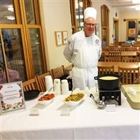 Chef Andy Lasseter in the Lower School Dining room.