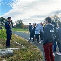 Hackley upper school students learning about sustainable farming.