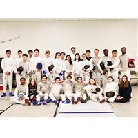 The Hackley Fencing team in the new fencing studio.