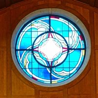 The Rose window in Allen Memorial Hall.