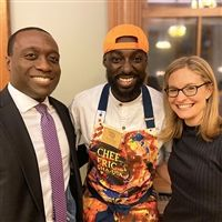 Trustee Eric Gyasi '01 and his wife Rae with Chef Eric Adjepong.