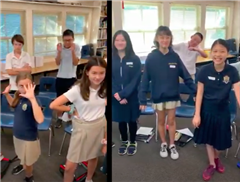 Teacher Cara Barker's students in Grade 6 and Grade 7 take a Mannequin Challenge brain break to boost their focus on the learning material.