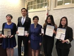 Congresswoman Judy Chu (center) gave the Congressional Award Medal to four SGV students (left to right): Julieanne Guo, Richard Dong, Melanie Phan, and Cristie Huang. Courtesy photo (credit: Pasadena Independent article)