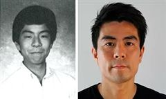 Goro Toshima in his Clairbourn yearbook picture (left) and his current photo (right)
