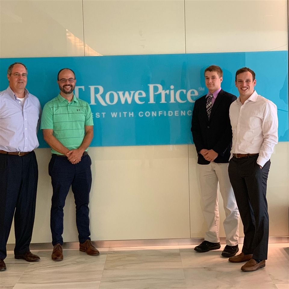 Brian Rzepkowski '20 completed his externship with James Szczybor '09 at T. Rowe Price and met Dana Morgan '87 and Ben Vidmar '98 during the day.