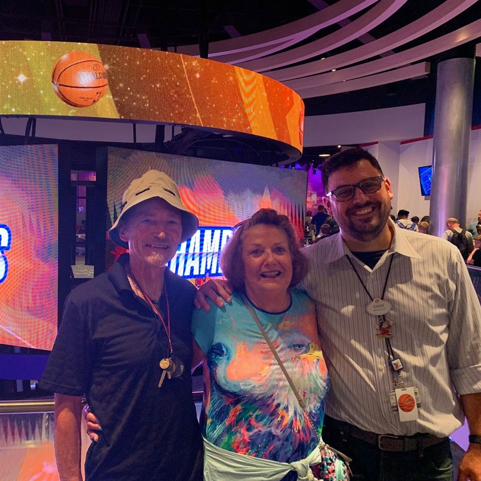 Stash and his parents at the public opening of the NBA Experience in Disney Springs