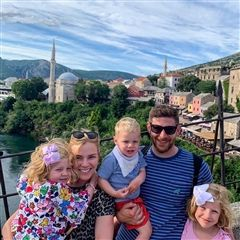 Jason and his family on vacation in Mostar, Bosnia and Herzegovina