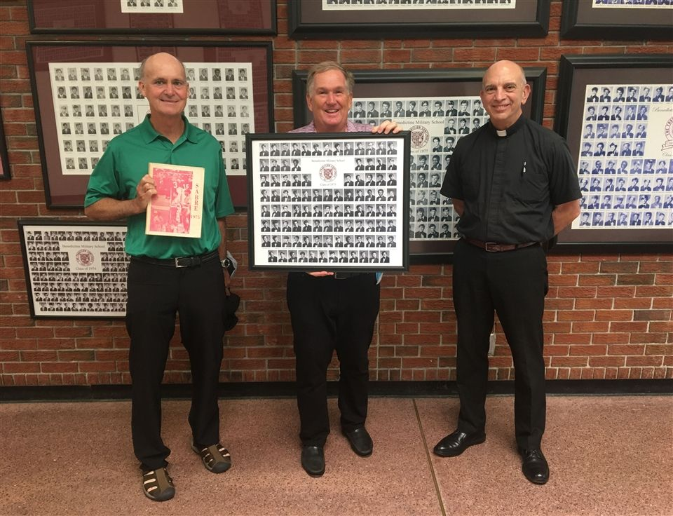 Mr. Walter Muller '75, left, and Mr. Tom Hagan '75, middle, with BC Headmaster Fr. Frank Ziemkiewicz, O.S.B., in Alumni Hall.