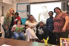 Ms. Corporan-Nieves read Viva Frida to Elementary 4 students.