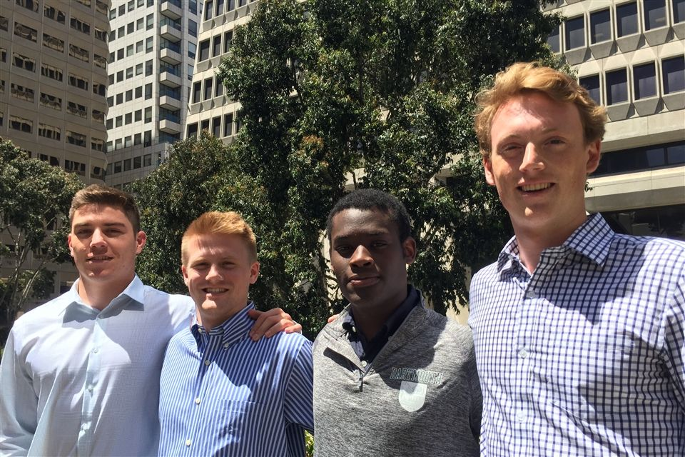 Lukas, Stuart, Manny, and Colin (L to R) outside Equilibrium's offices in San Francisco.