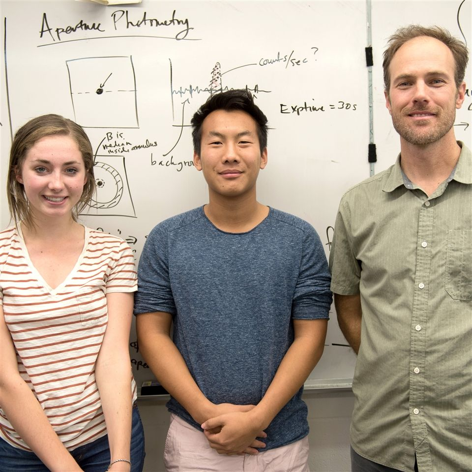 (L to R): Katie O'Neill, Jeffrey Ding, and Dr. Jon Swift have earned time at the Las Cumbres Observatory to further their research project on supernovae.