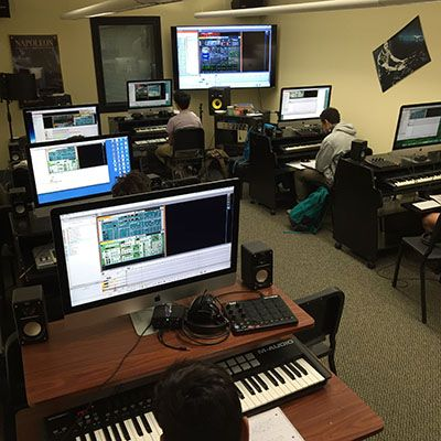 Electronic music classroom with students