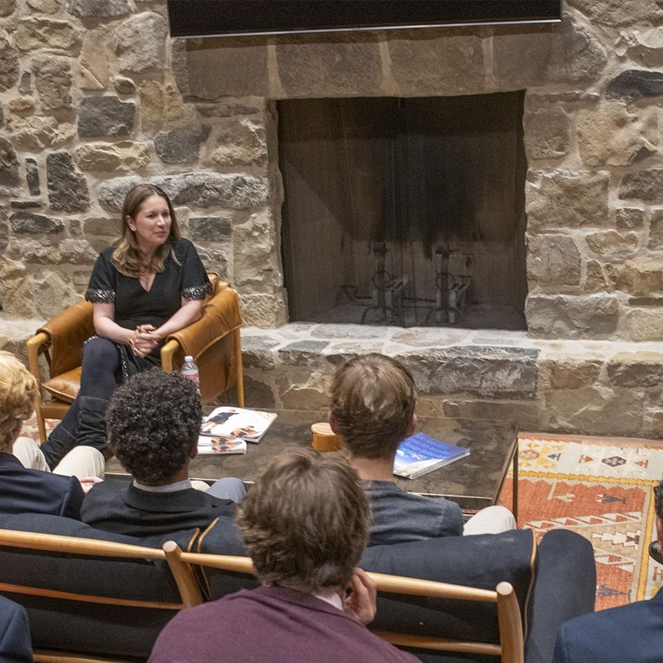 Ms. Callimachi taking questions in the Thacher Room