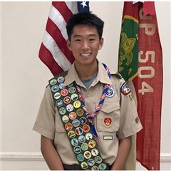 Thacher senior, Steven, in his Scout uniform