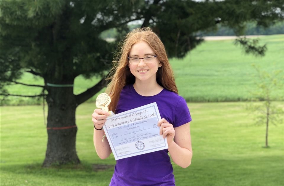 Miriam Hill with Math Olympiad award