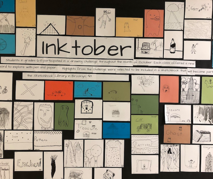 Every October, artists from all over the world participate in Inktober by drawing in ink each day of the month. This year, Barnesville School students joined this global event and now their art is part of a permanent collection!