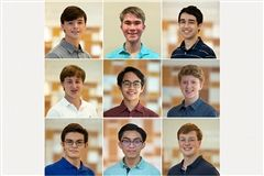Pictured left to right: (top) William Murphy, Lucas Walker, and Eishan Naik (middle) Henry Jones, Zachary Alonte, and Charles Donnell (bottom) Alex Mitchell, Ethan Mendoza, and John Hoelscher