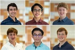 Pictured left to right: (top) Eishan Naik, Zachary Alonte, and Charles Donnell (bottom) Henry Jones, Ethan Mendoza, and John Hoelscher