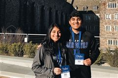 Sachin and Sonali Sanjay posed together at Duke University
