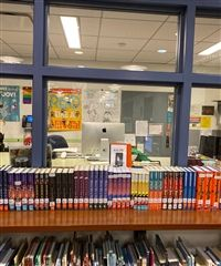 Some of this year's Adi's Reading Challenge Books lined up waiting to be checked out.