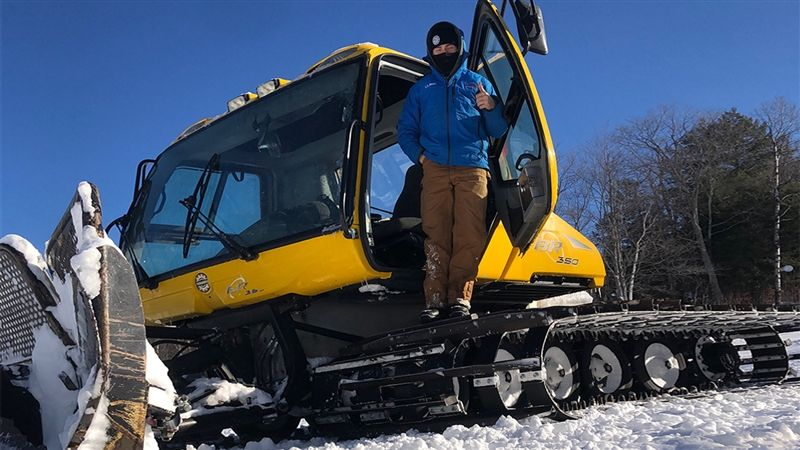 Colter grooming trails at Whaleback Mountain