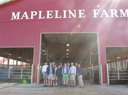 A group of Fourth Form students at Mapleline Farm in Whately, Massachusetts on Global Awareness Day 2016