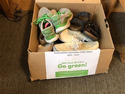 Shoe donation boxes were placed in each of the six dorms on campus.