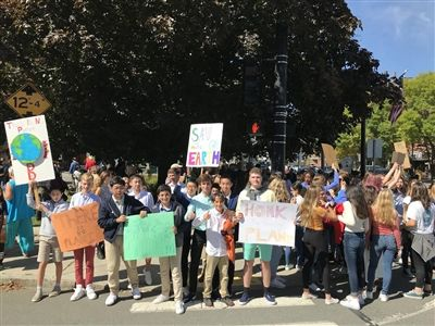 Nine Eaglebrook students seen at a local climate strike rally in Greenfield, MA on Friday, September 20.