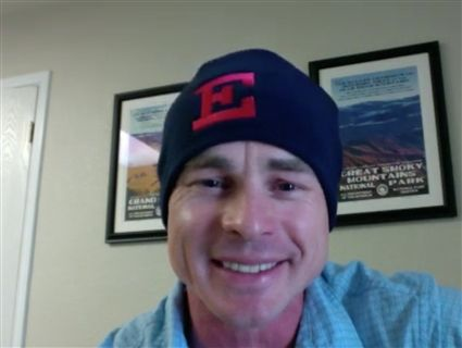 Dan Gwosch '98 pictured on Zoom, wearing his Eaglebrook beanie on Spirit Friday.