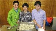Students selling dumplings at the Sports Center on Friday night.