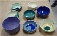 Some of the bowls made by Eaglebrook students for the Amherst Empty Bowls dinner.